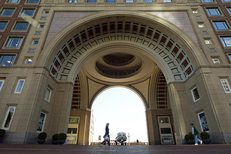 The new beer garden will give drinkers views of Boston Harbor through the Rowes Wharf arch.