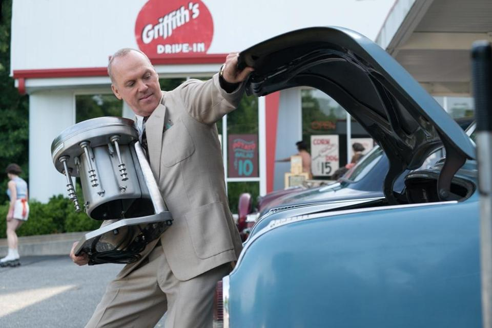 "Michael Keaton plays Ray Kroc in ""The Founder."""
