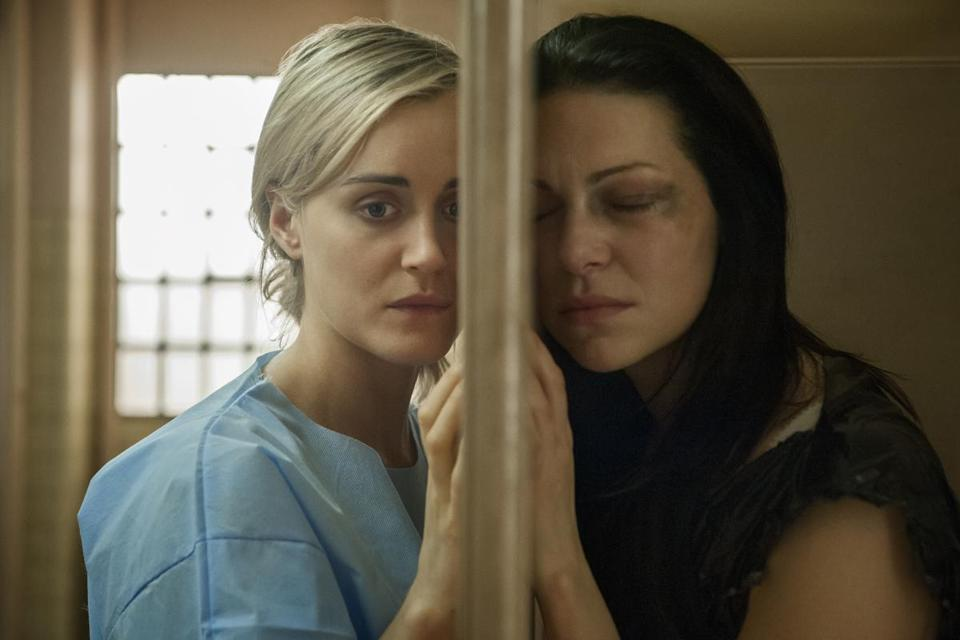 "Taylor Schilling (left) and Laura Prepon in ""Orange Is the New Black."""