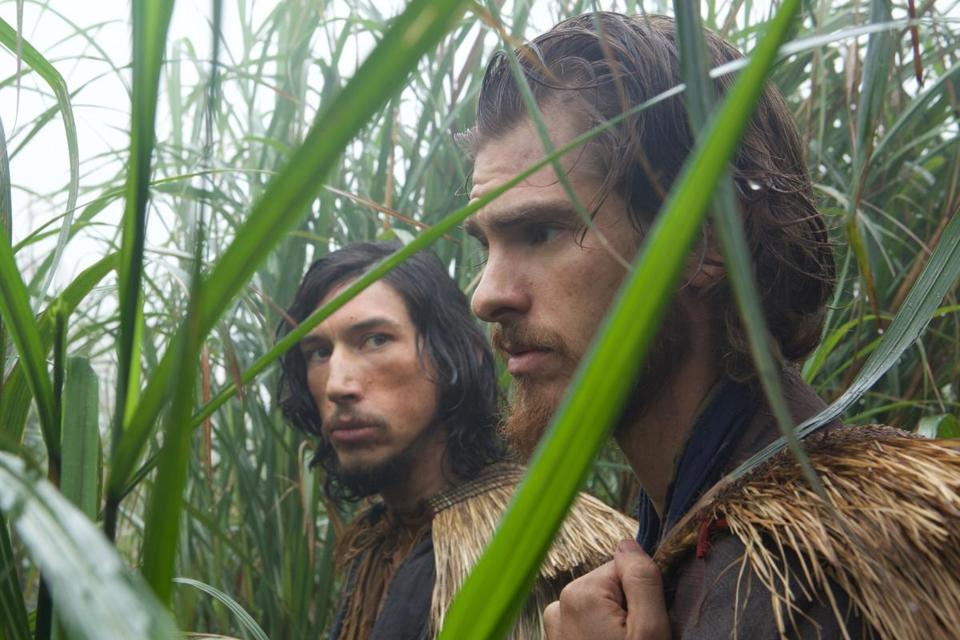 "Adam Driver plays Father Garupe, left, and Andrew Garfield plays Father Rodrigues in ""Silence."""