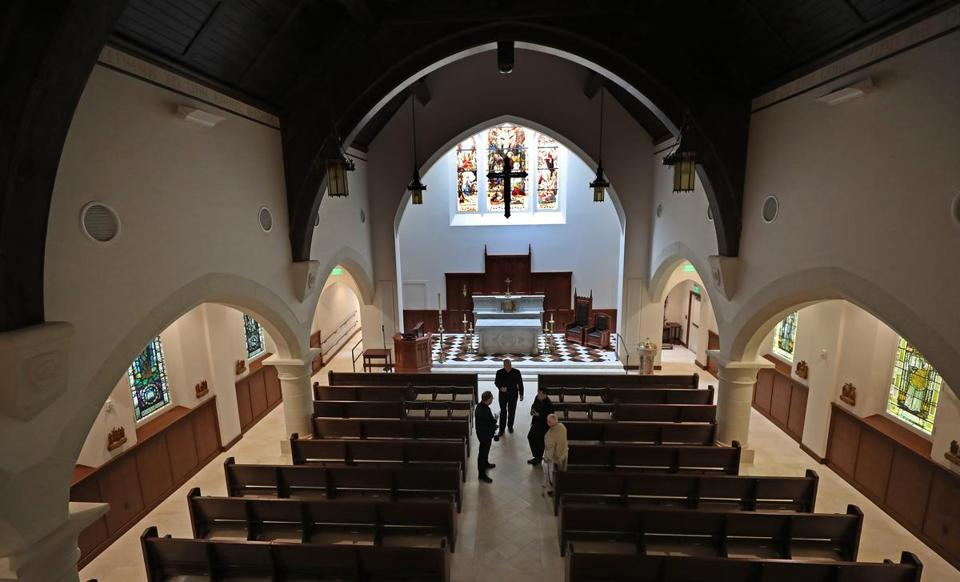 An interior view of the church Our Lady of Good Voyage in Boston.