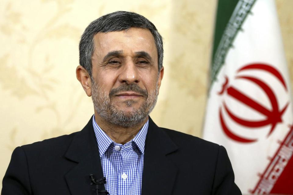 FILE- In this April 15, 2017, file photo, former Iranian President Mahmoud Ahmadinejad gives an interview to The Associated Press at his office in Tehran, Iran. Iranian state TV said Thursday, April 20, that the body charged with vetting candidates has disqualified former hard-line President Mahmoud Ahmadinejad from running in next month's presidential election. (AP Photo/Ebrahim Noroozi, File)