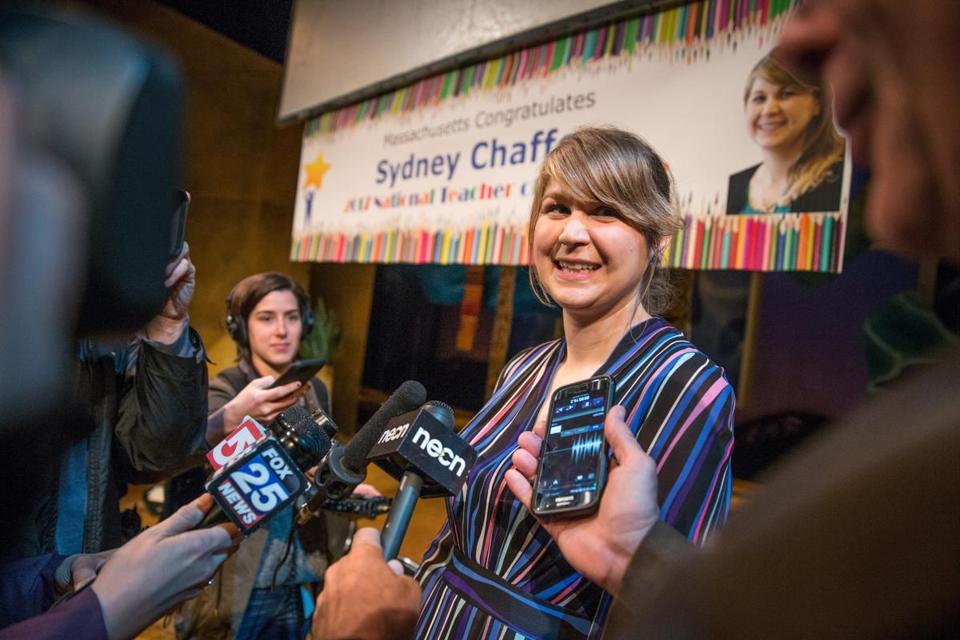 04/21/2017 BOSTON, MA Sydney Chaffee (cq) spoke to the media during a ceremony honoring Chaffee (cq) who was named 2017 National Teacher of the Year held at the Huntington Theatre in Boston. (Aram Boghosian for The Boston Globe)