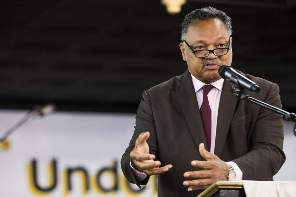 The reverend Jesse Jackson addressed the Grace Church of All Nations in Boston in  April 2017.