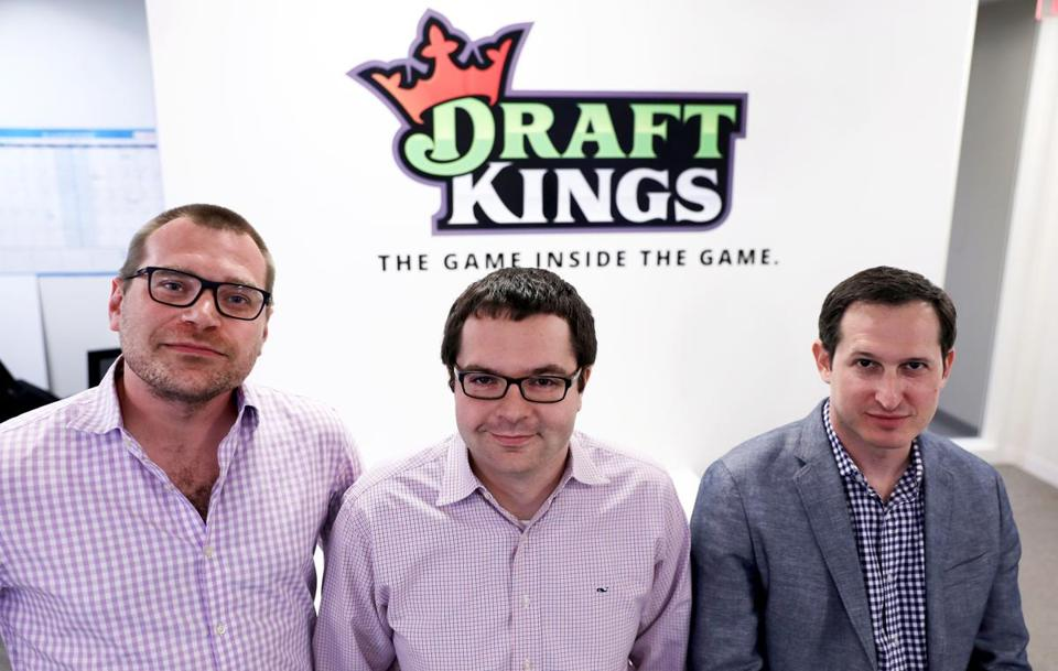 The three co-founders of DraftKings are, left to right, Matt Kalish, Paul Liberman, and Jason Robins.