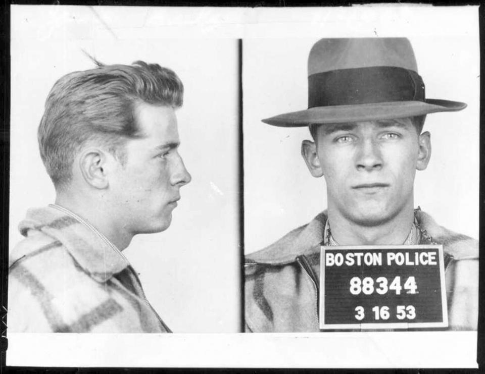"This 1953 Boston police booking photo shows James ""Whitey"" Bulger after an arrest. Bulger and his girlfriend Catherine Greig, were apprehended Thursday, June 23, 2001, in Santa Monica, Calif., after 16 years on the run. (AP Photo/Boston Police via The Boston Globe) WCVB-TV, thebostonchannel.com OUT whiteyglobebook /// **whiteybulgerarchive"