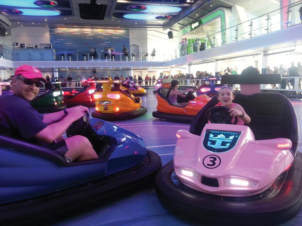 Father-and-daughter time in the SeaPlex bumper cars.