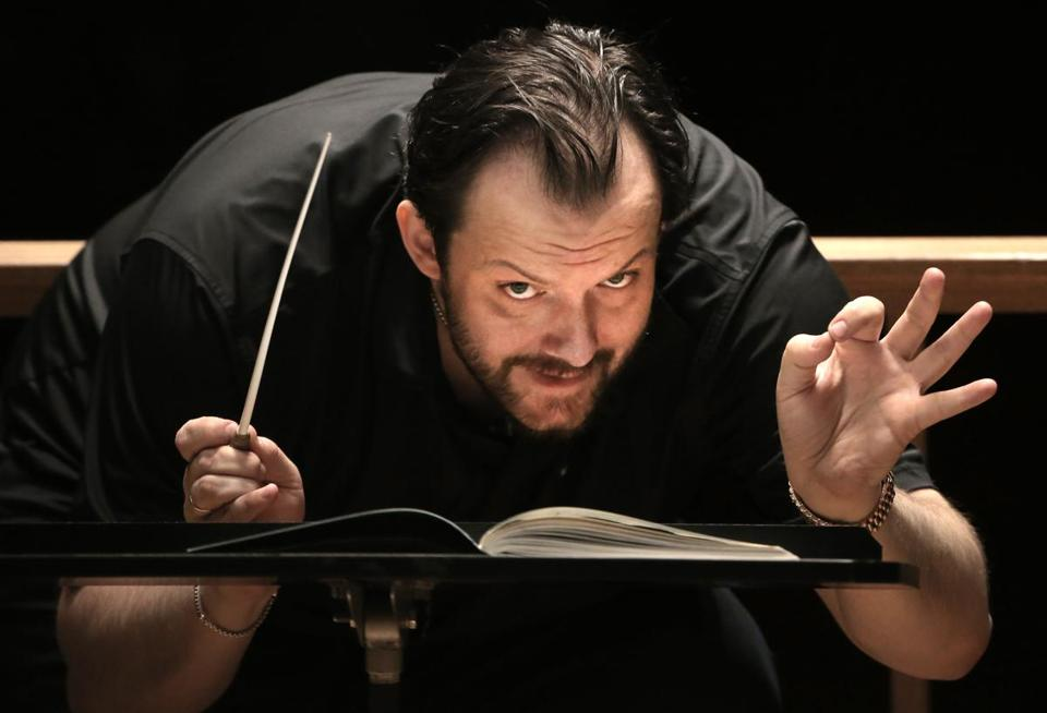 Andris Nelsons, music director of the Boston Symphony Orchestra, was photographed during a rehearsal.