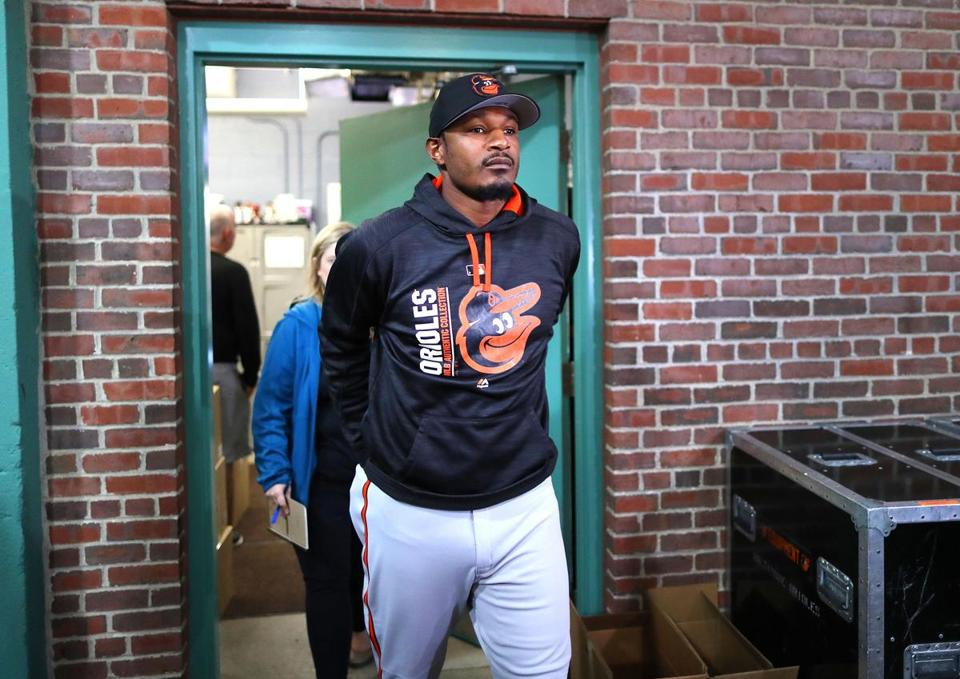 Baltimore Orioles player Adam Jones left the clubhouse to speak to reporters Tuesday.