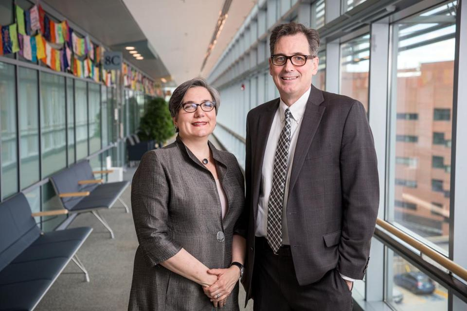 05/03/2017 BOSTON, MA Dr. Vicki Jackson (cq) (left), chief of palliative care at MGH and Dr. David Ryan (cq), chief of MGH Cancer Center, pose for a portrait together at Mass General Hospital's Yawkey Center. (Aram Boghosian for The Boston Globe)