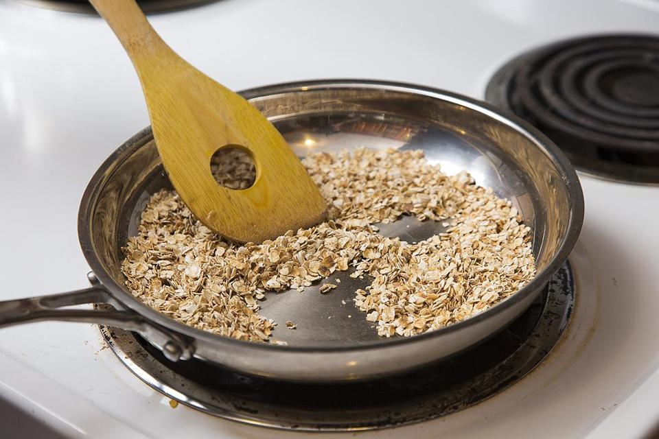 Dry-toasting oats intensifies their flavor. Heat 1 cup of rolled oats in a medium skillet over medium heat, stirring and shaking the pan frequently so they'll toast evenly, until they're fragrant and a shade darker, 8 to 10 minutes.
