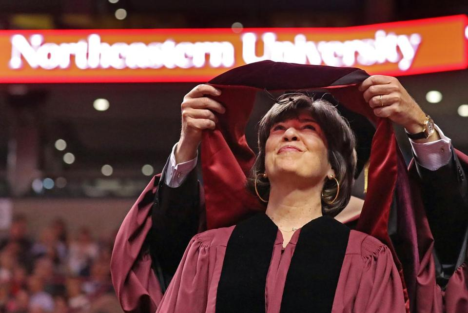 BOSTON, MA - 5/05/2017:... International journalist Christiane Amanpour degree recipient speaks at Northeastern University 2017 Commencement giving the address at TD Garden Boston .(David L Ryan/Globe Staff Photo) SECTION: METRO TOPIC 06northeastern