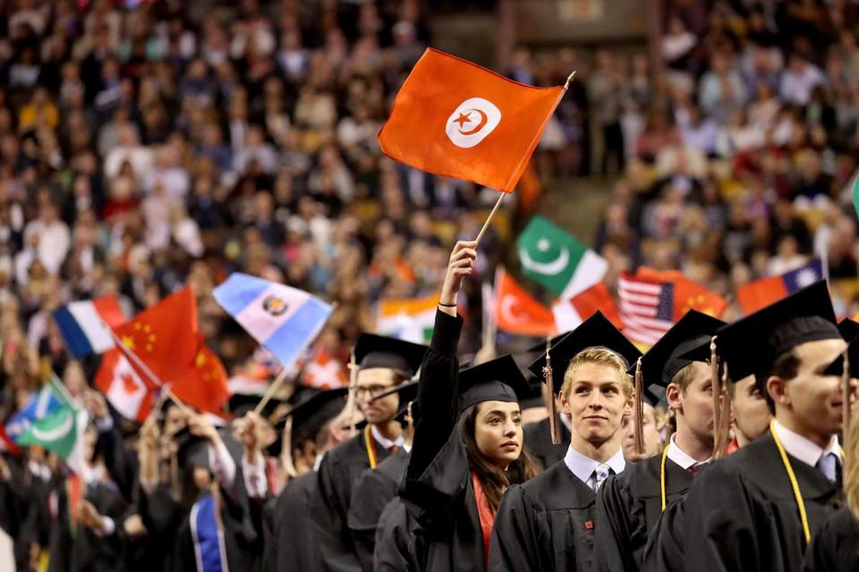 BOSTON, MA - 5/05/2017: Flags were on display from different countries of the graduating class. GRADS of about 3,700 at NORTHEASTERN UNIVERISITY commencement inside TD Garden Boston .(David L Ryan/Globe Staff Photo) SECTION: METRO TOPIC 06northeastern