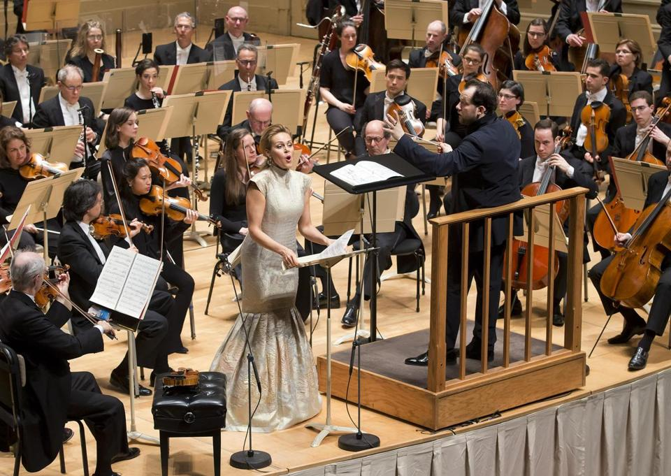 Andris Nelsons conducts Kristine Opolais and the Boston Symphony Orchestra at Symphony Hall Thursday night.