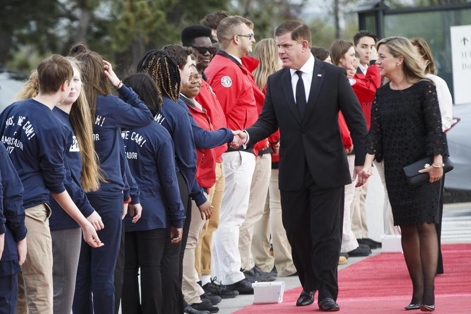 Boston, MA - 5/7/2017 -Boston Mayor Marty Walsh shakes hands with greeters as they arrive for the annual John F. Kennedy Profile in Courage Award at the the John F. Kennedy Presidential Library and Museum in Boston, MA, May 7, 2017. Former U.S. President Barack Obama was the recipient of the award. ()