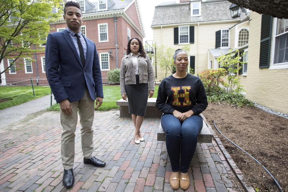 Harvard graduate students Michael Huggins, Courtney Woods, and Jillian M. Simons will take part in Black Commencement 2017 on May 23.