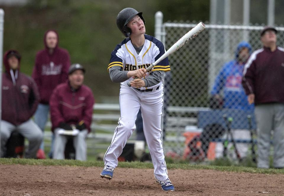 Hadley, Ma-April, 19, 2017-Stan Grossfeld/Globe Staff- Thea Hansom, 14, a freshman, girl playing with the Hopkins Academy Golden Hawks varsity baseball team. The school had to receive a special exemption to allow her to play. Her she pops out pinch hitting against Easthampton.