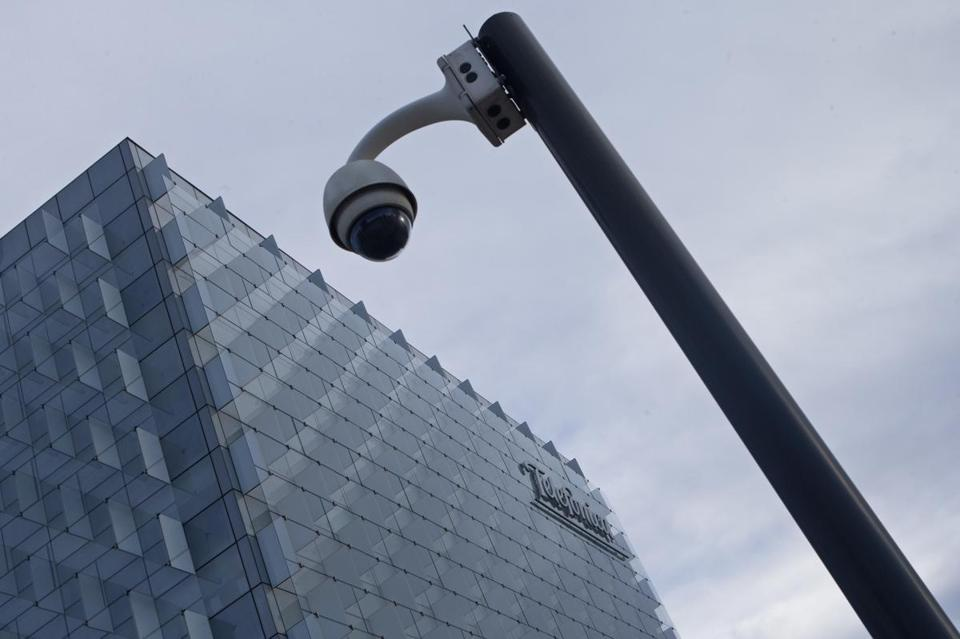 A security camera stands outside the main Telefonica headquarters in Madrid, Spain, Friday. The Spanish government said several companies including Telefonica had been targeted in ransomware cyberattack.