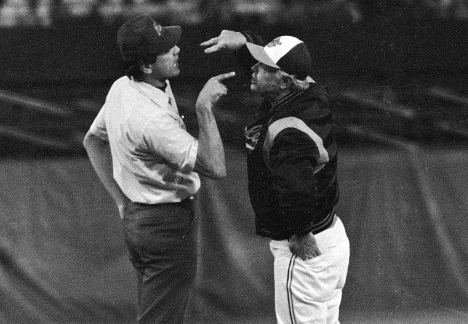 Umpire Steve Palermo goes jaw to jaw with Orioles manager Earl Weaver in a 1979 game.
