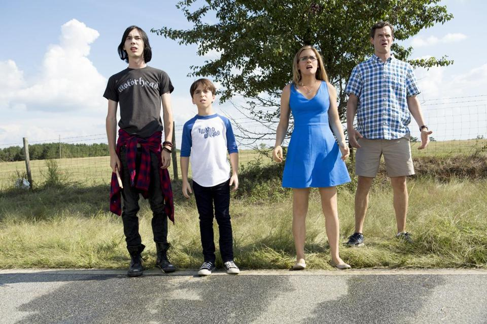 "From left: Charlie Wright, Jason Drucker, Alicia Silverstone, and Tom Everett Scott in ""Diary of a Wimpy Kid: The Long Haul."""