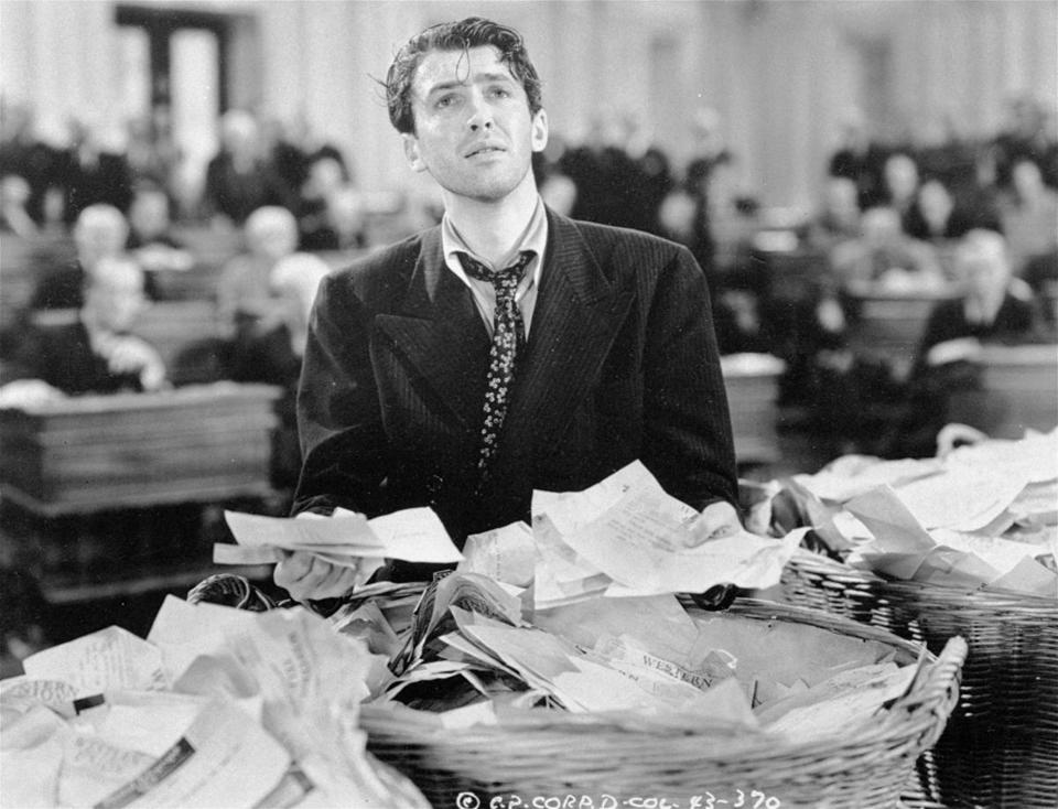 "Jimmy Stewart as Jefferson Smith in Frank Capra's ""Mr. Smith Goes to Washington."""