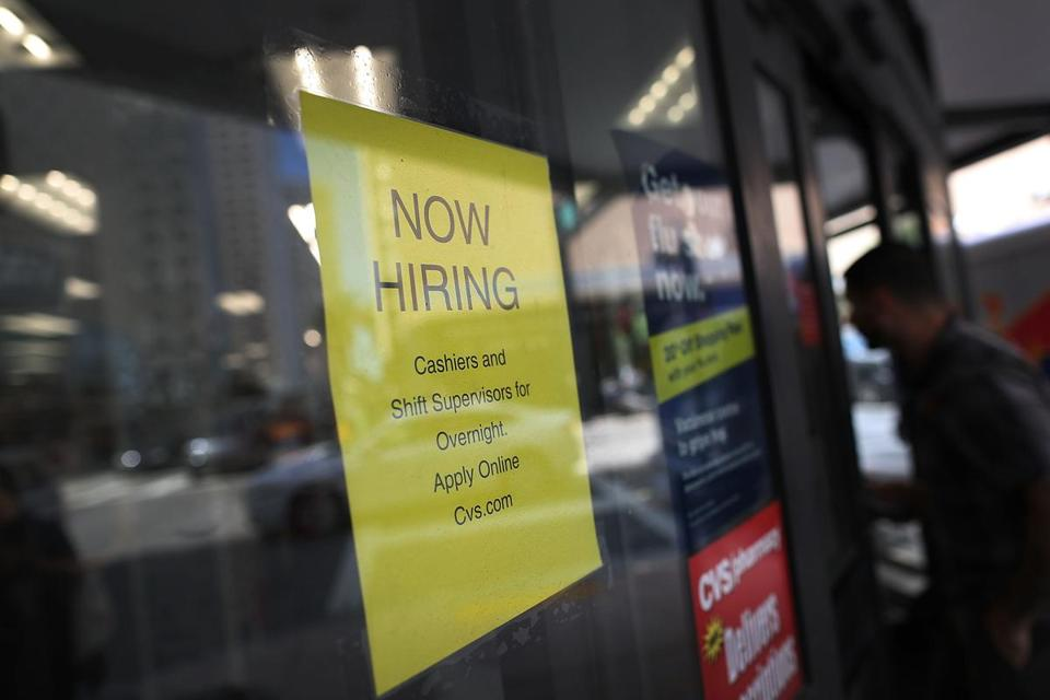 "MIAMI, FL - MARCH 10: A Now Hiring sign is seen as the Bureau of Labor Statistics reports that nonfarm payrolls increased by 235,000 in February and the unemployment rate was 4.7 percent in the first full month of President Donald Trump's term on March 10, 2017 in Miami, Florida. The overall economic momentum and optimism was given an extra push by February's unusually warm weather, with almost a quarter of the jobs "" about 58,000 "" coming from construction alone. Manufacturing and mining also bounced up. (Photo by Joe Raedle/Getty Images)"