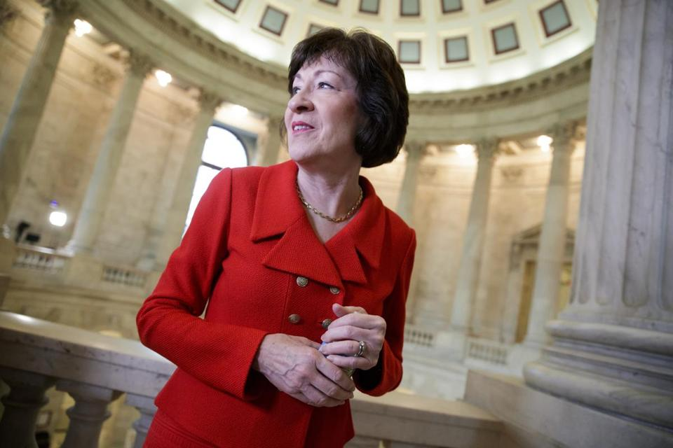 FILE - In this March 28, 2017, file, Sen. Susan Collins, R-Maine, finishes a television news interview on Capitol Hill in Washington. Moderate senators from both parties met May 15 to explore whether they can work on bipartisan legislation overhauling the nation's health care system. Collins and Bill Cassidy, R-La., were organizers of the meeting. Attendees included several other Republicans plus three Democrats: Sens. Heidi Heitkamp of North Dakota, Joe Manchin of West Virginia and Indiana's Joe Donnelly.(AP Photo/J. Scott Applewhite, File)