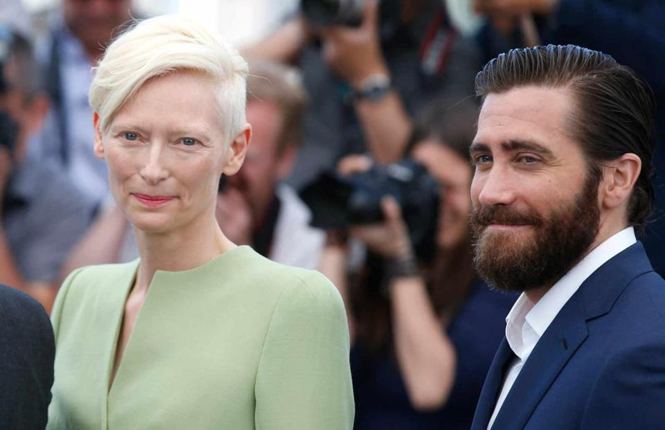 Tilda Swinton and Jake Gyllenhaal posed for a photograph at the Cannes Film Fesitval in southern France.