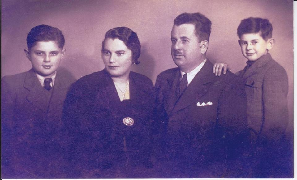 Pre-war photos of Andrew Burian with family. Left to right: Tibor, Matilda, Ernest and Andrew Brandstein (Burian).