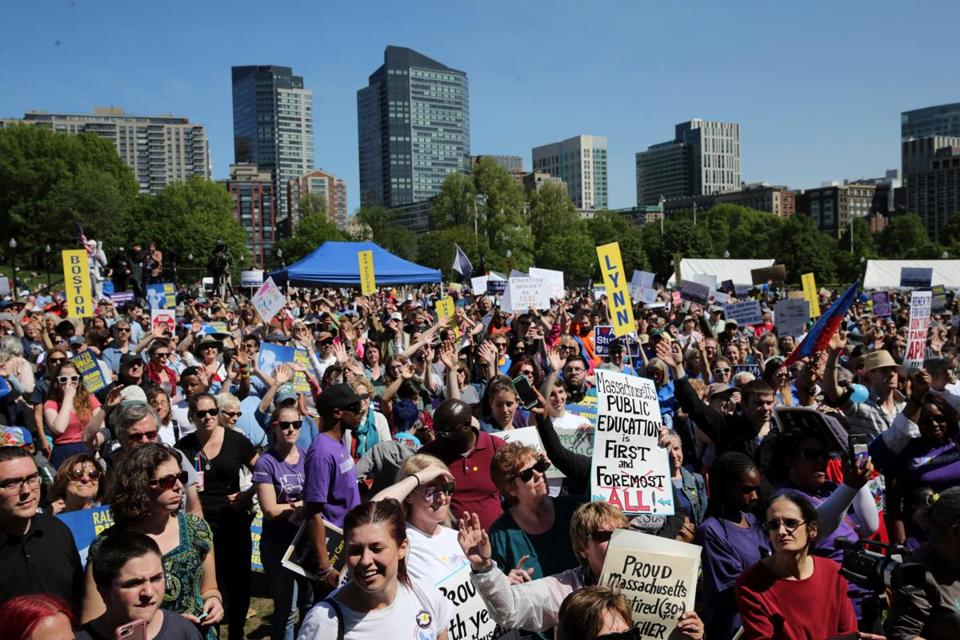 More than 1,500 people attended a rally for public education at Boston Common on May 19.