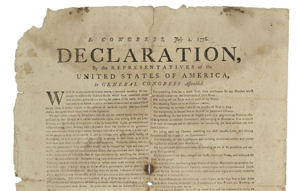 for Antiques - 07antiques - A broadside of the Declaration of Independence. (Skinner, Inc.)