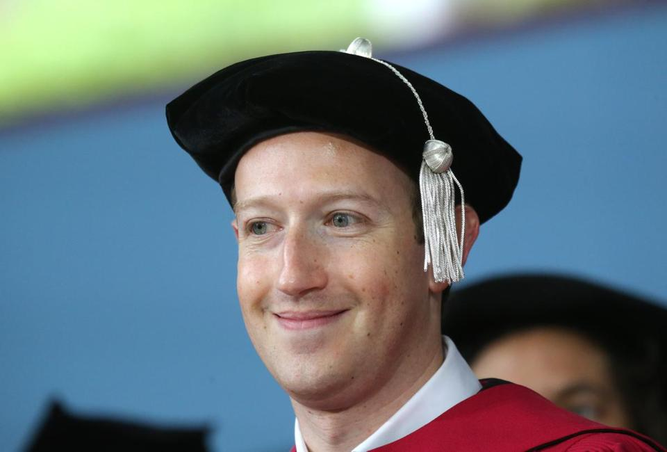 CAMBRIDGEW, MA - 5/25/2017: Mark Zuckerberg, Harvard dropout and CEO of Facebook, a company worth nearly $400 billion, got a college degree more than a decade after leaving his classes behind here at the Harvard Commencement. (David L Ryan/Globe Staff Photo) SECTION: METRO TOPIC 26harvard