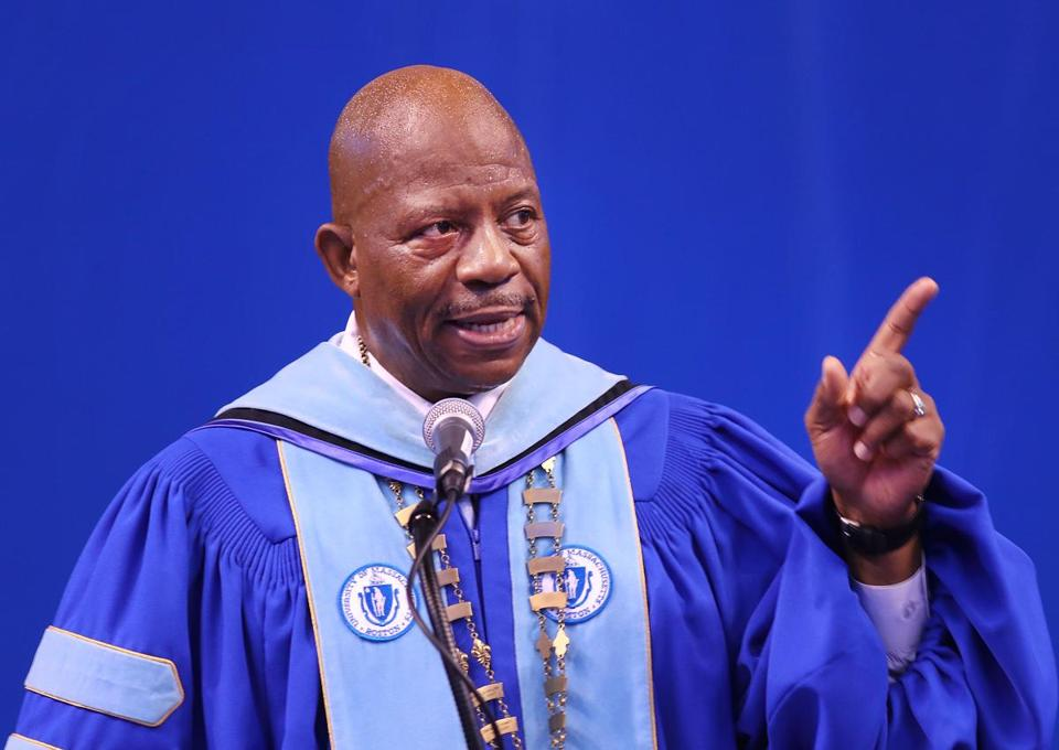 J. Keith Motley, then UMass Boston chancellor, spoke at commencement in May.