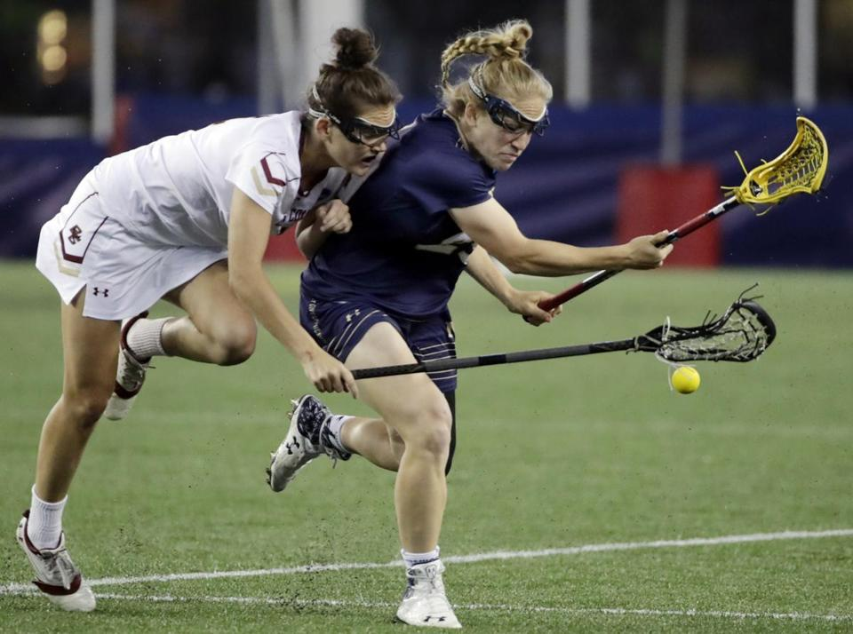 BC's Kenzie Kent (left), who scored five goals, battles Navy's Caitlin McGlaughlin for possession.