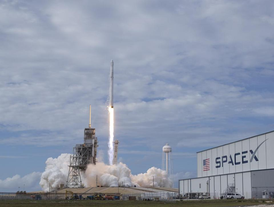 The SpaceX Falcon 9 rocket, with the Dragon spacecraft onboard, launched Saturday at Kennedy Space Center.