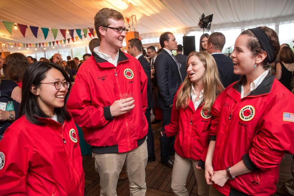 05/25/2017 BOSTON, MA L-R Liz Wang (cq) 23, Tom Ryan (cq) 23, Molly Sitzer (cq) 23, and Allison Peters (cq) 22, attend the City Year annual Starry Night Gala at the Westin Boston Waterfront. (Aram Boghosian for The Boston Globe)