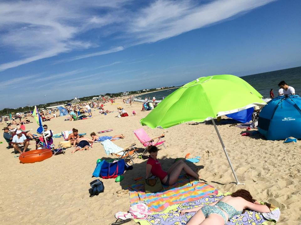 Craigville Beach, Cape Cod, features a long sandy strip and fairly protected water for swimming. (Ellen Creager/Detroit Free Press/TNS via Getty Images)