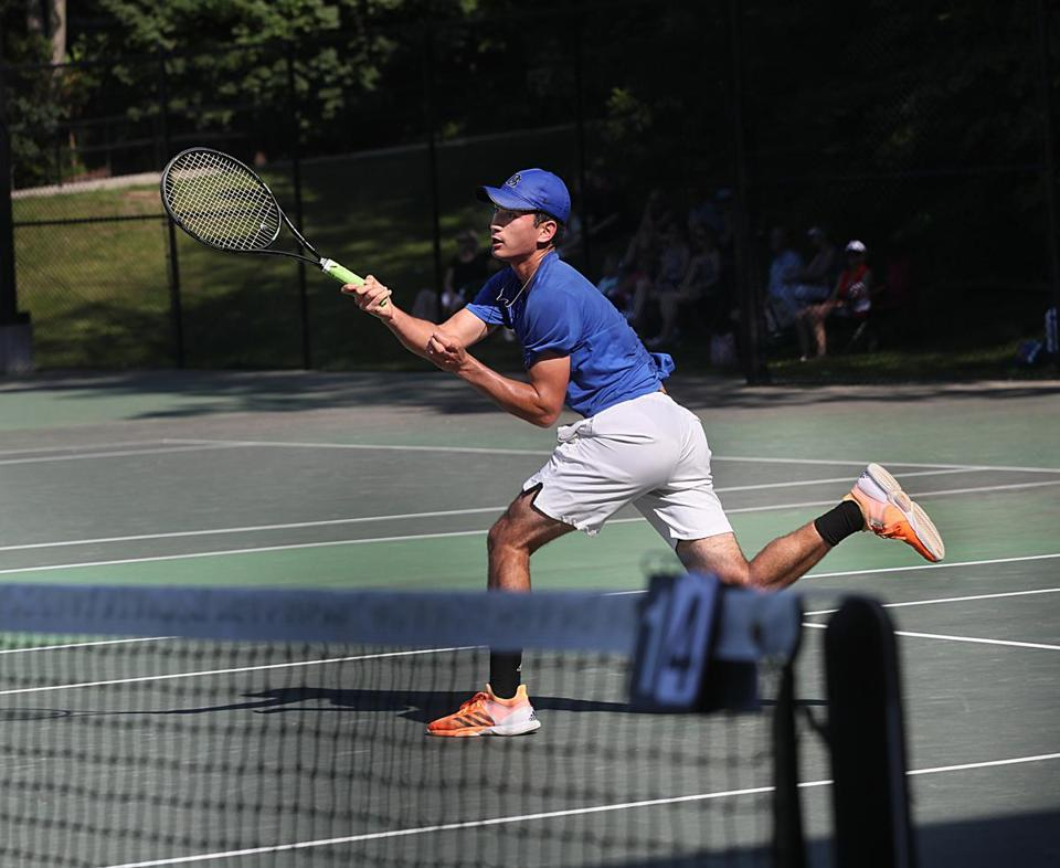 Newton, Ma., 06/12/17,Max Schuermann of Dover Sherborn High School plays Weston in the tennis semi final at Newton North High School. Suzanne Kreiter/Globe Staff