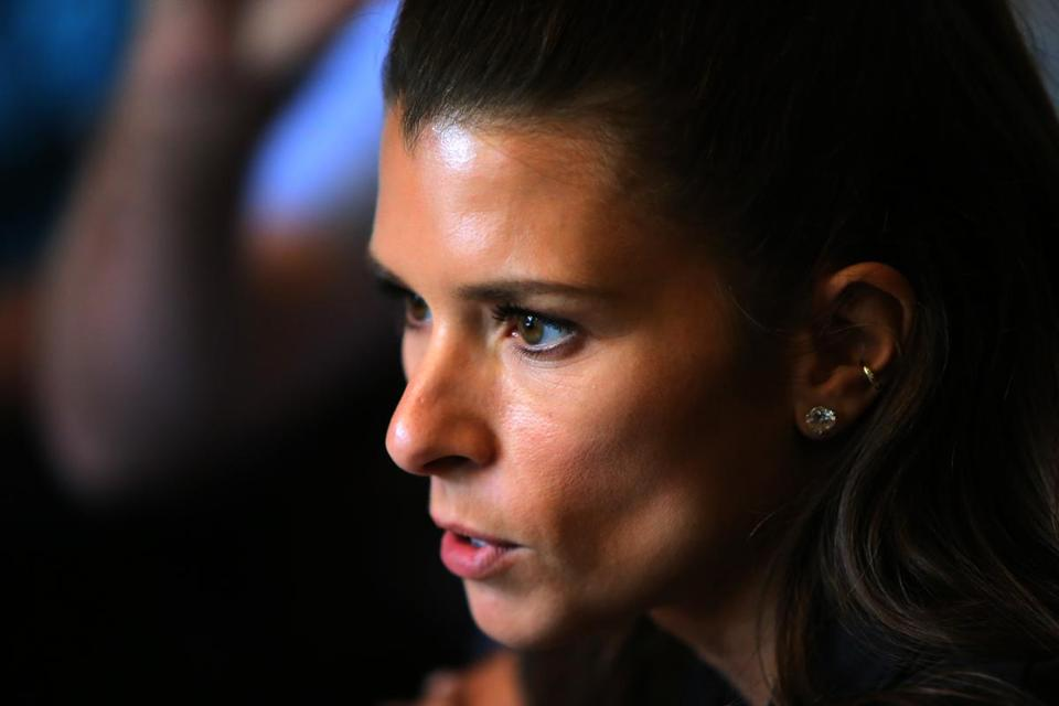 Boston, MA - 06/14/17 - NASCAR star Danica Patrick conducted interviews at Cheers Pub on Beacon Street. (Lane Turner/Globe Staff) Reporter: (Vega/Shinzawa) Topic: ()