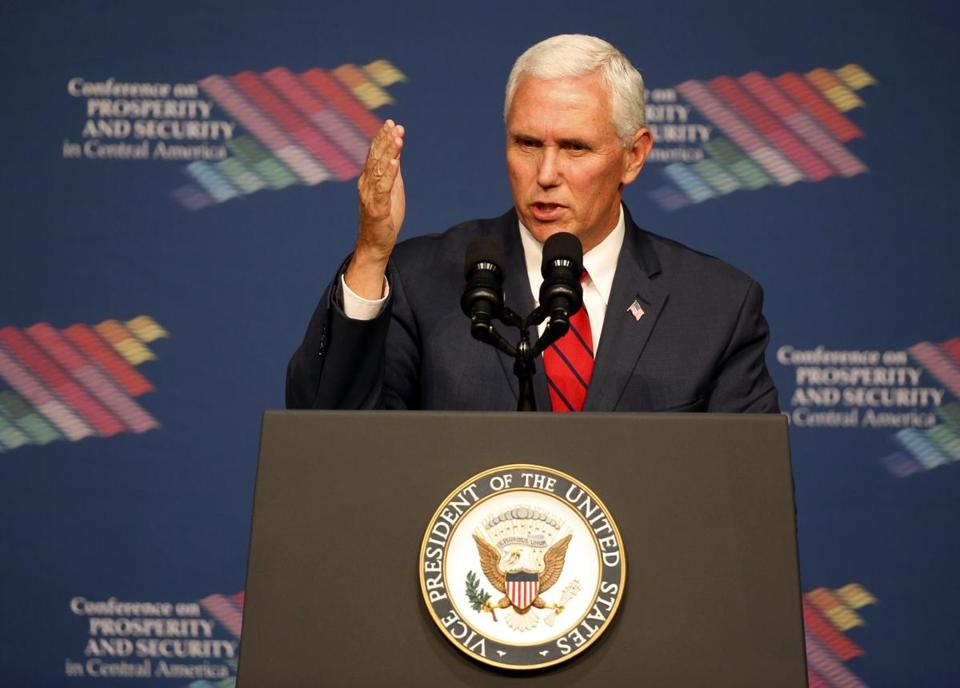 Vice President Mike Pence speaks during a conference on Prosperity and Security in Central America, Thursday, June 15, 2017, in Miami. (AP Photo/Wilfredo Lee, Pool)