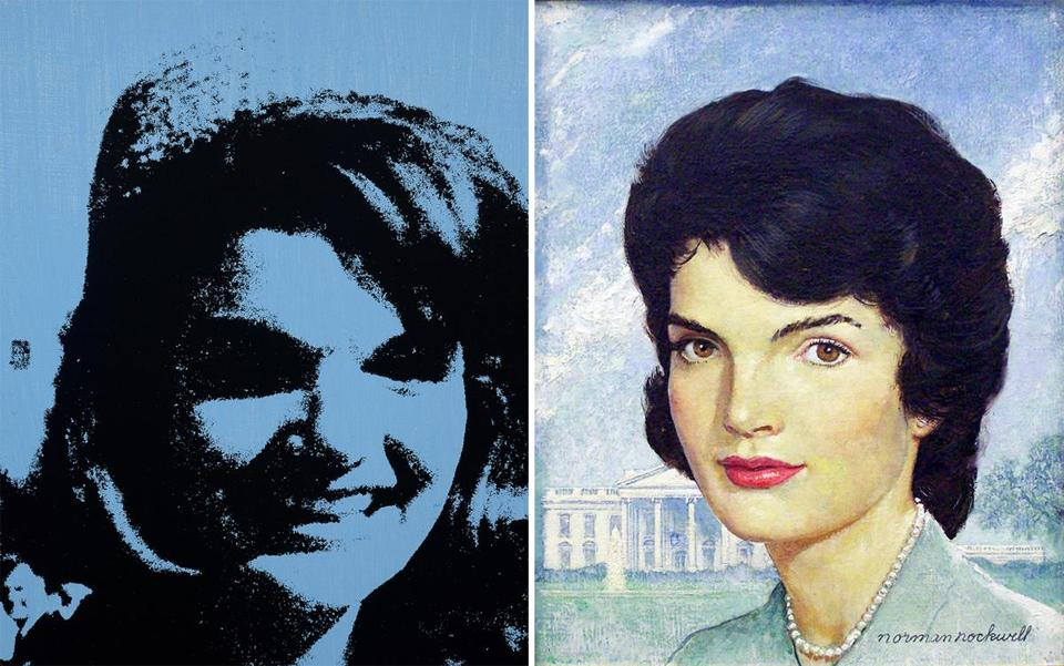 """Jackie"" (1964) by Andy Warhol; ""Portrait of Jackie Kennedy"" (1963) by Norman Rockwell"