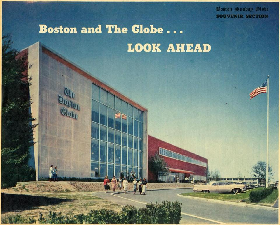 Boston, MA - 1958: The front of the Boston Globe building at 135 Morrissey Blvd., in the Dorchester neighborhood of Boston, as seen on the cover a souvenir section of the Boston Sunday Globe. (Boston Globe Archive/) --- BGPA Reference: 170412_MJ_001
