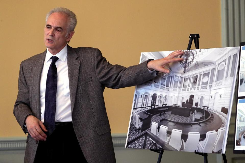 Christos Coios of CBT Architects presented a rendering of the finished Senate chamber after the planned renovation and restoration.