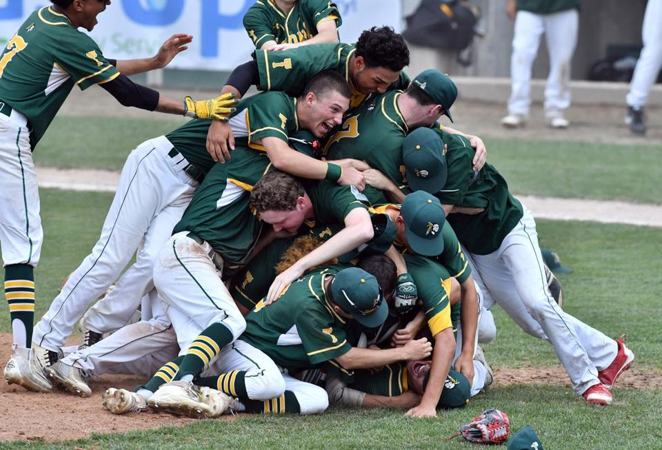 Taconic celebrates their victory over Wellesley in Division 1 State baseball finals at Holy Cross's Hanover Field. Josh Reynolds for The Boston Globe (Sports, duffy)