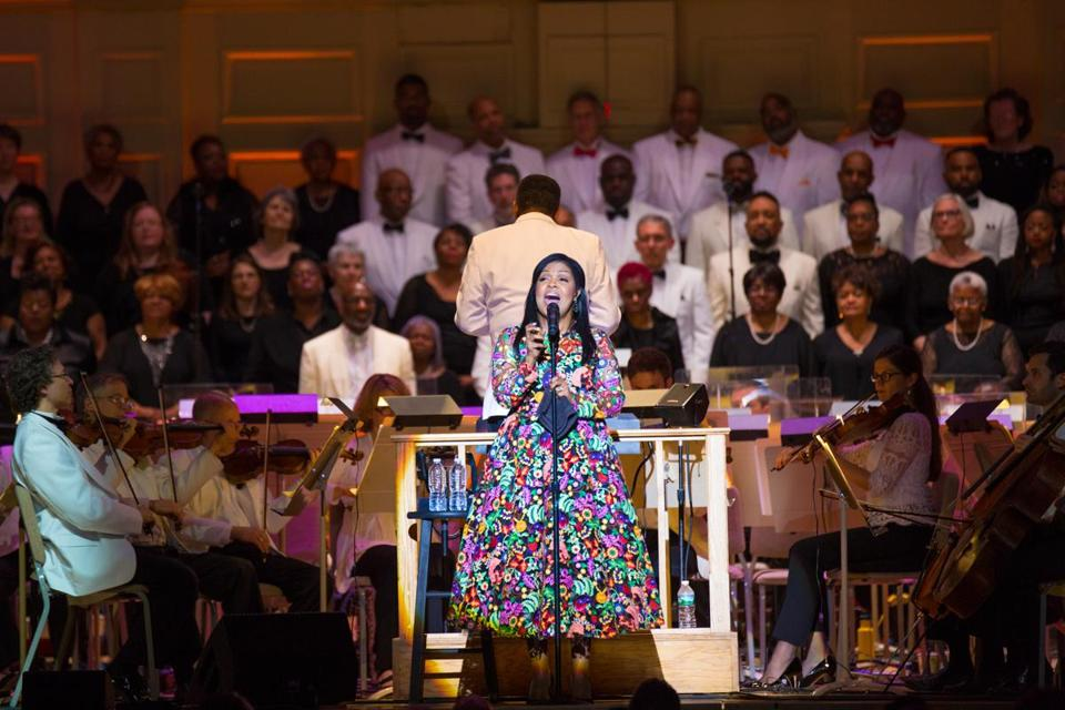 CeCe Winans performing with conductor Charles Floyd, the Boston Pops, and the Pops Gospel Choir.