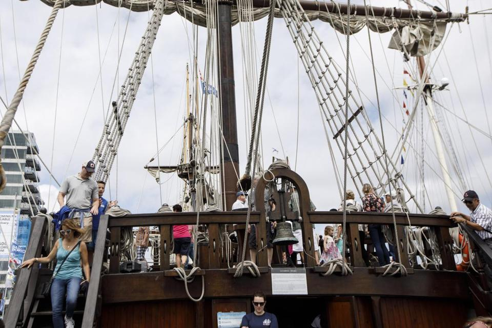 Boston, MA - 6/18/2017 - Visitors walk the deck of the tall ship El Galeon of Spain as they take public tours of tall ships as part of the Sail Boston event on Fan Pier in Boston, MA, June 18, 2017. (Keith Bedford/Globe Staff)