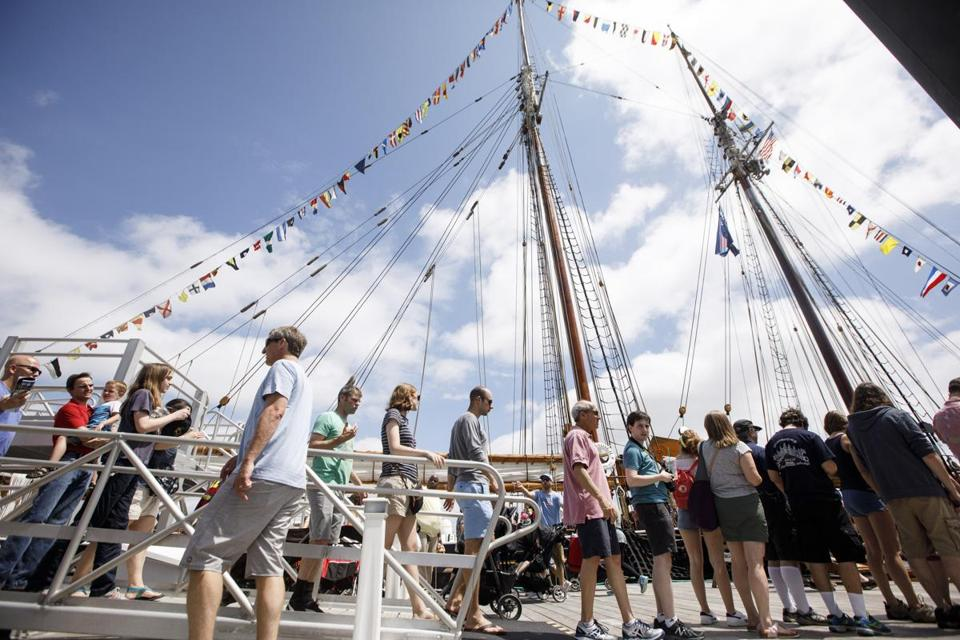 Crowds made their way along Fan Pier to tour ships that were taking part of Sail Boston in Boston on Sunday.