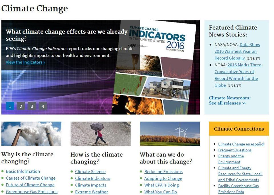A screenshot of the climatechangedata.boston.gov website.