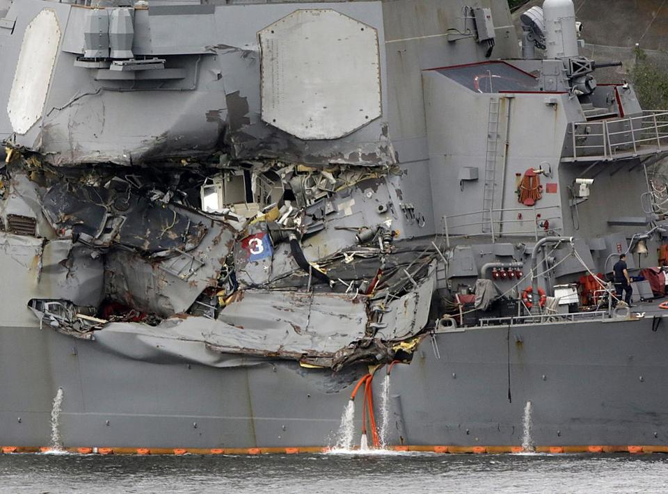 Damaged section of the USS Fitzgerald at the US Naval base in Yokosuka, southwest of Tokyo.