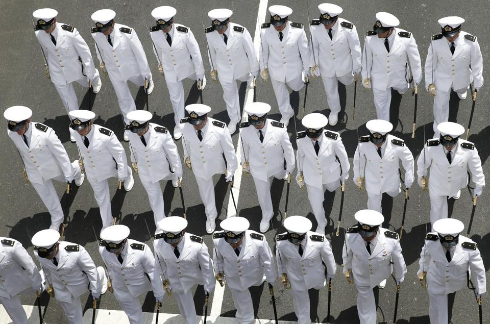Boston, MA -- 6/19/2017 - Sailors march in formation during the Sail Boston Crew and Cadet Parade. (Jessica Rinaldi/Globe Staff) Topic: 20tallshipspic Reporter: